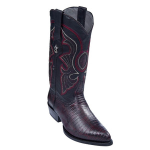 Los Altos Black Cherry J-Toe Genuine Teju Lizard