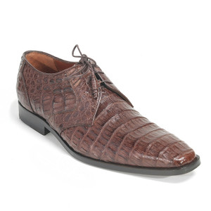 Los Altos Brown Genuine Caiman Belly Lace Up