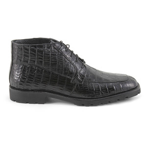 Black Genuine Caiman Crocodile Belly Ankle Boot By Los Altos