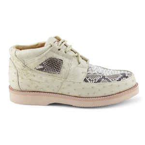 Los Altos Winterwhite Genuine Ostrich & Python