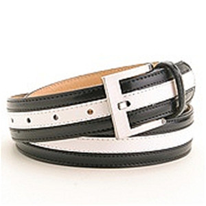 Marco Valentino Black/White Leather Dress Belt