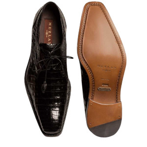 Mezlan Anderson Black Genuine Crocodile Lace-Up