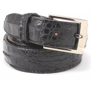 Belvedere Black Genuine Crocodile Dress Belt
