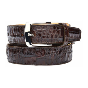 Belvedere Brown Genuine Crocodile Dress Belt