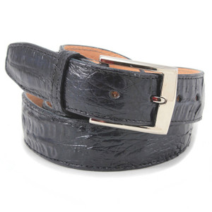 Belvedere Navy Genuine Crocodile Dress Belt