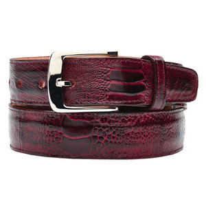 Belvedere Antique Red  Genuine Ostrich Leg Belt