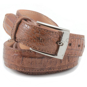 Belvedere Camel Genuine Crocodile Dress Belt