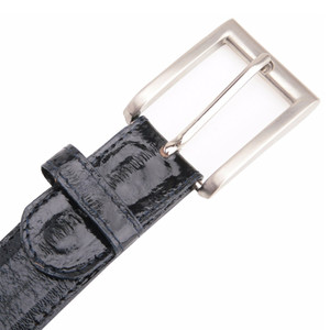 Belvedere Black Genuine Eel Skin Dress Belt