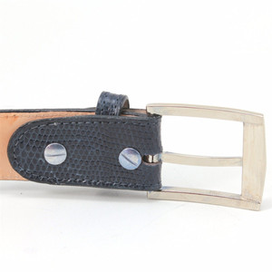 Belvedere Navy Genuine Lizard Skin Dress Belt