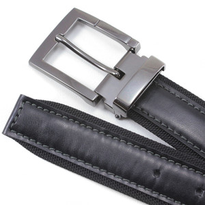 Avanti Black Fabric & Italian Leather Dress Belt