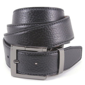Avanti Black Textured Italian Leather Dress Belt