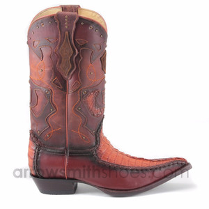 King Exotic Cognac Brown Crocodile Skin Boots