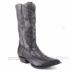 King Exotic Long Black Crocodile Skin Boots