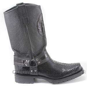 Los Altos Black  Genuine Python Biker Boot