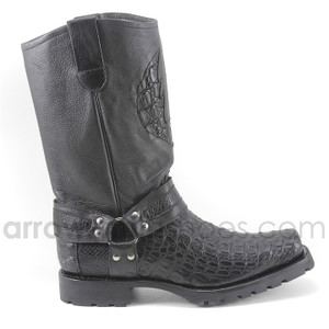 Los Altos Black Genuine Crocodile Biker Boot