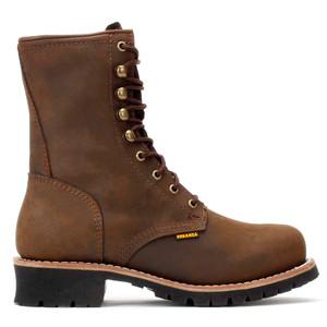 Bonanza Brown Full-Grain Oiled Leather Logger Boots
