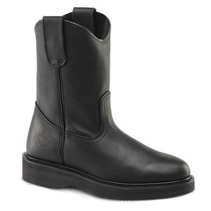 Bonanza Black Full-Grain Leather Wedge Wellington Boots