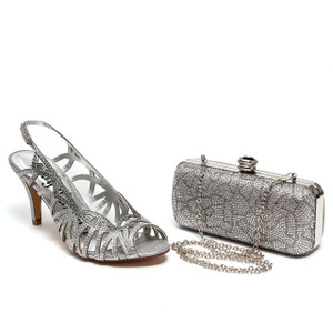 Lady Couture Beauty Silver Bedazzled Strappy Heels