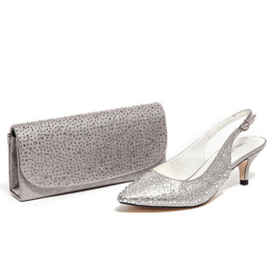 Lady Couture Onyx Silver Jeweled Fabric Heels