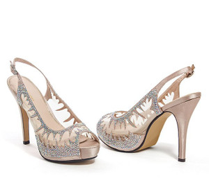 Lady Couture Dream Champagne Jeweled Mesh Sling Back Heels