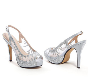 Lady Couture Dream Silver Jeweled Mesh Sling Back Heels