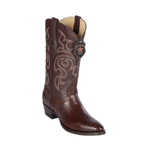 Los Altos Brown Round Toe Boots Genuine Teju Lizard Skin