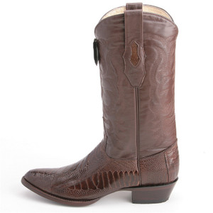 Los Altos Brown Boots Genuine Ostrich Skin