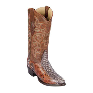 Los Altos Brown Boots Genuine Python Skin