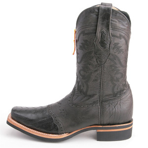 Los Altos Black Boots Genuine Ostrich Skin