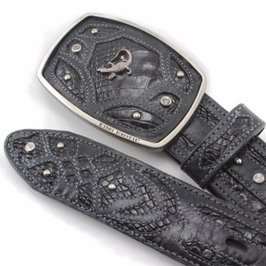 King Exotic Black Belt Genuine Caiman