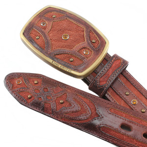 King Exotic Cognac Belt Genuine Sharkskin