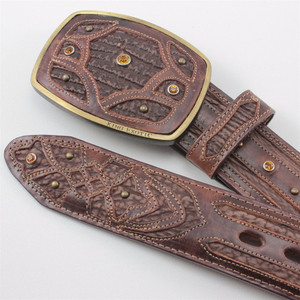 King Exotic Tobacco Belt Genuine Sharkskin