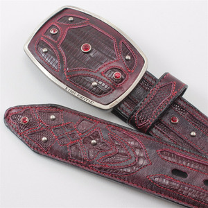 King Exotic Burgundy Belt Genuine Teju Lizard