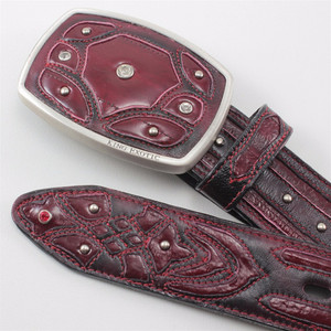 King Exotic Burgundy Belt Genuine Eel Skin