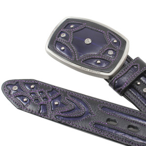King Exotic Purple Belt Genuine Eel Skin