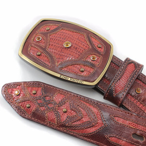 King Exotic Cognac Belt Genuine Lizard Teju