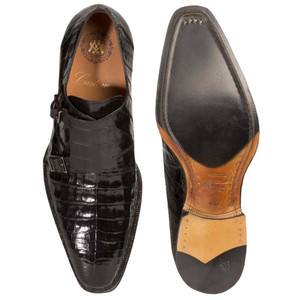 Mezlan PRAGUE Black Exotic Crocodile Dress Monkstraps
