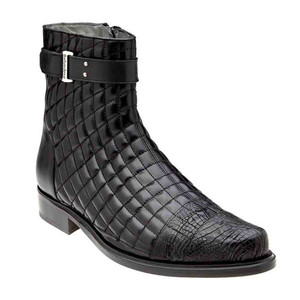 Belvedere Libero Black Caiman Crocodile & Quilted Leather Boots