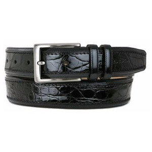 Mezlan Black Genuine Crocodile Dress Belt