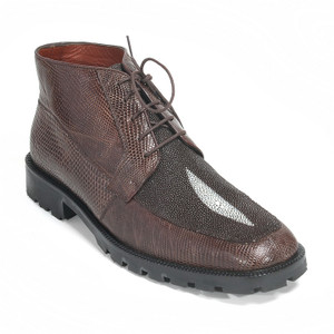 Los Altos Brown Genuine Stingray Lizard Lace Up Boot