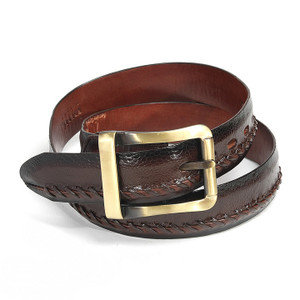 Los Altos Brown Genuine Ostrich Skin Belt