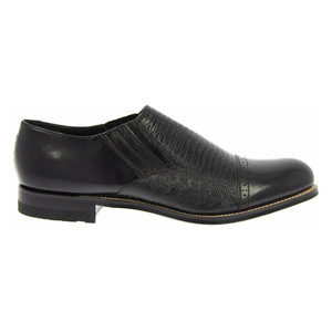 Stacy Adams Madison Black Lizard Print Leather Slip-ons