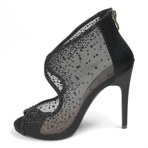 Lady Couture Bonita Black Embellished Fabric Heels