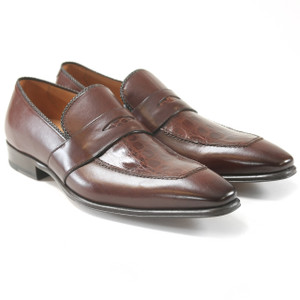 Mezlan Lambert Brown Genuine Crocodile Skin and Calfskin Leather Slip-Ons