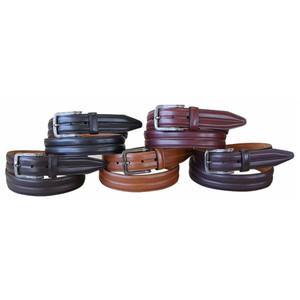 Lejon Center Club Dark Brown Genuine Leather Belt