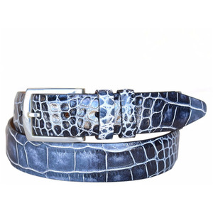 Lejon Azurmendi Black & Navy Genuine Leather Belt