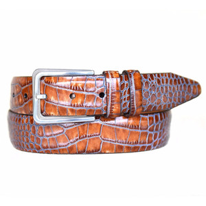 Lejon Amador Cognac Printed Saddle Leather Belt