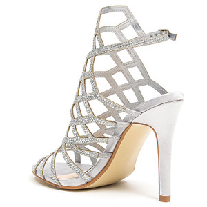 Lady Couture Kent Silver Embellished Fabric Gladiator Heels