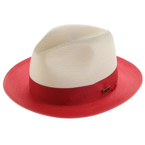 Dobbs Toledo Ivory & Red Straw Hat
