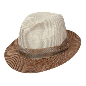 Stetson Andover Ivory & Cognac Straw Hat
